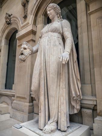 muse: PARIS, FRANCE - AUGUST 28 2013: Colossal female statue, muse Melpomene. Marble, Roman artwork, ca. 50 BC. Louvre Museum