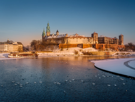 Royal Wawel Castle with the Vistula river in winter time, Krakow - Poland
