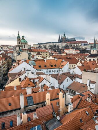 townhouses: View of the Lesser Town, St. Nicholas Church and Prague Castle, Prague, Czech Republic