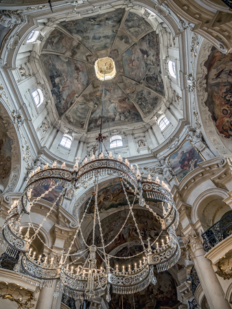PRAGUE, CZECH REPUBLIC - MARCH 7 2017: Baroque interior of St Nicholas Church located in the Old Town, Praque, Czech Republic