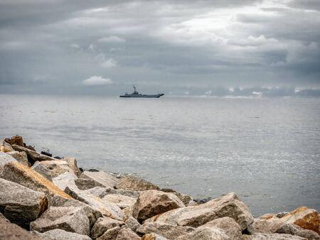 Polish Navy warship patroling Polish Baltic Sea Stock Photo