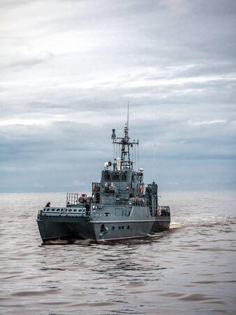 Polish Navy patrol ship patroling Polish Baltic Sea