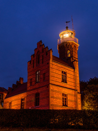 Historical Lighthouse in Ustka, located at the Baltic Sea coast, Poland
