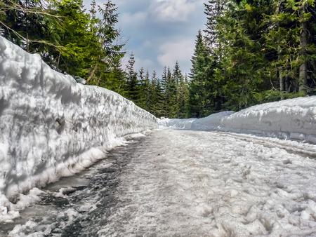 Tourist trail to Lake Morskie Oko during wintertime, Tatra National Park Stock Photo