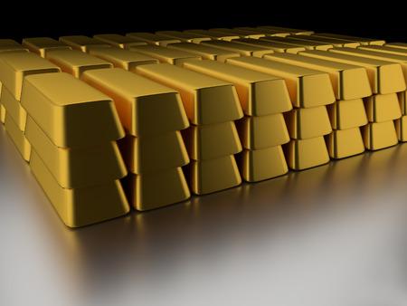 Pile of gold ingots on white surface and black background