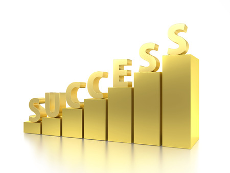 3D rendering of golden bar graph with Success word on top over white background