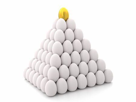 3D rendering of white egg pyramid with one golden egg on top over white background Stok Fotoğraf