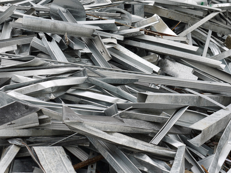 Scrap of zinc-plated sheet metal sections