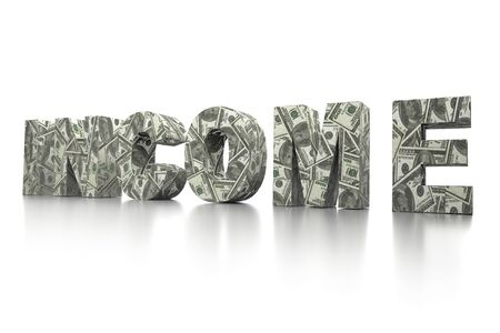 3D rendering of INCOME word wrapped around with 100 USD banknotes over white background