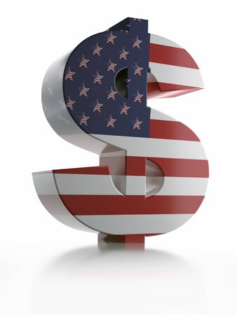 3D rendering of USD currency symbol wrapped around with American flag over white background Stock Photo