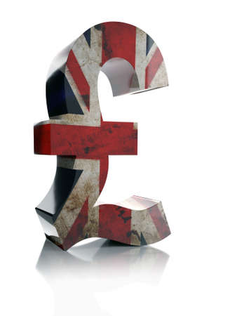3D rendering of British Pound Sterling currency symbol wrapped around with British flag over white background