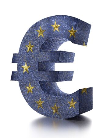 3D rendering of Euro currency symbol wrapped around with EU flag over white background 版權商用圖片