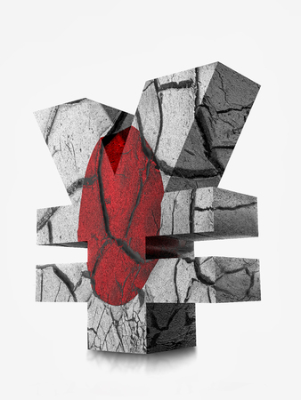 3D rendering of Japanese Yen currency symbol wrapped around with Japanese flag and cracked earth effect over white background Stock Photo