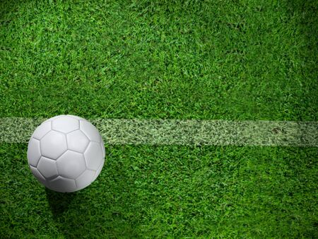 3D rendering of a soccer ball on the pitch