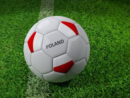 3D rendering of white soccer ball with imprinted Polish flag colors placed next to the pitch line