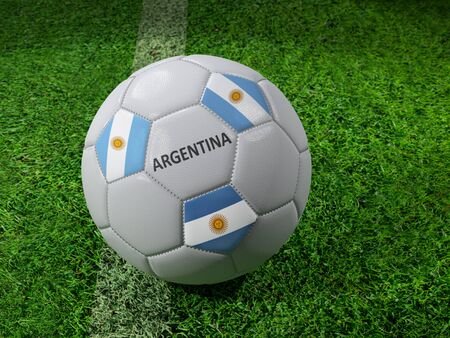 3D rendering of white soccer ball with imprinted Argentina flag colors placed next to the pitch line