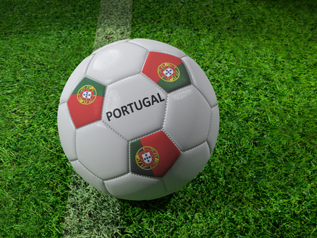 3D rendering of white soccer ball with imprinted Portugal flag colors placed next to the pitch line