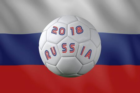 3D rendering of white soccer ball with imprinted 2018 Russia text placed against Russian flag