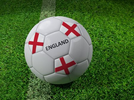 3D rendering of white soccer ball with imprinted England flag colors placed next to the pitch line