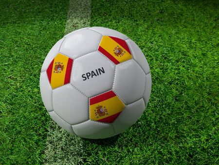3D rendering of white soccer ball with imprinted Spain flag colors placed next to the pitch line