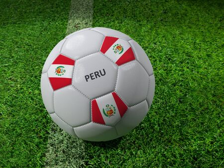3D rendering of white soccer ball with imprinted Peru flag colors placed next to the pitch line