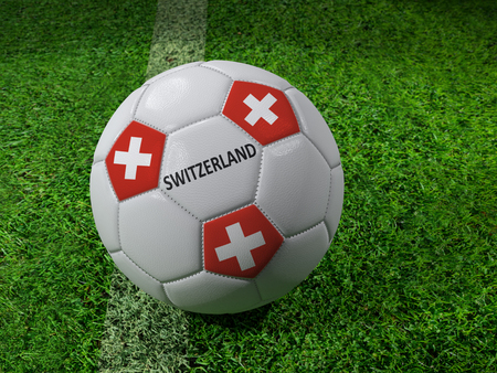 3D rendering of white soccer ball with imprinted Switzerland flag colors placed next to the pitch line