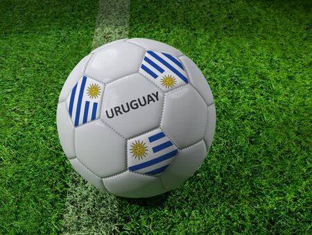 3D rendering of white soccer ball with imprinted Uruguay flag colors placed next to the pitch line