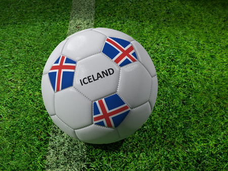 3D rendering of white soccer ball with imprinted Iceland as flag colors placed next to the pitch line Stock Photo