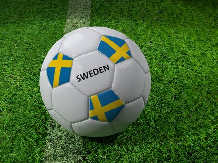 3D rendering of white soccer ball with imprinted Sweden as flag colors placed next to the pitch line