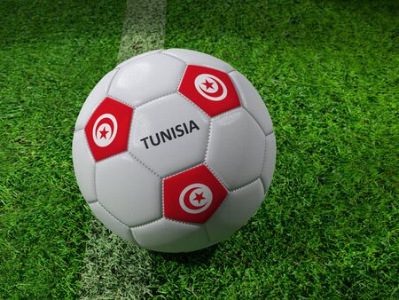 3D rendering of white soccer ball with imprinted Tunisia as flag colors placed next to the pitch line