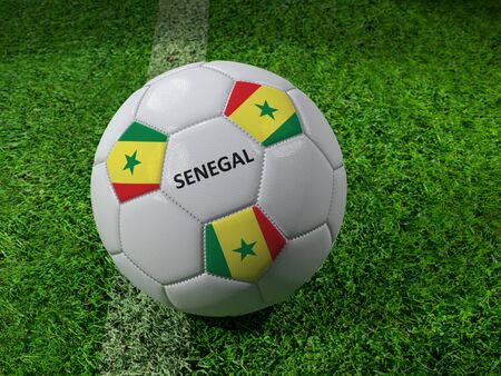 3D rendering of white soccer ball with imprinted Senegal as flag colors placed next to the pitch line