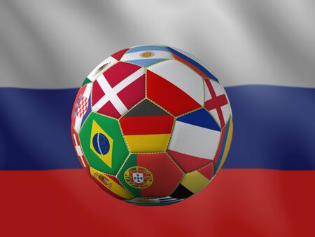 3D rendering of soccer ball with national flags representing major countries qualified to 2018 Russia international soccer tournament placed against Russian flag