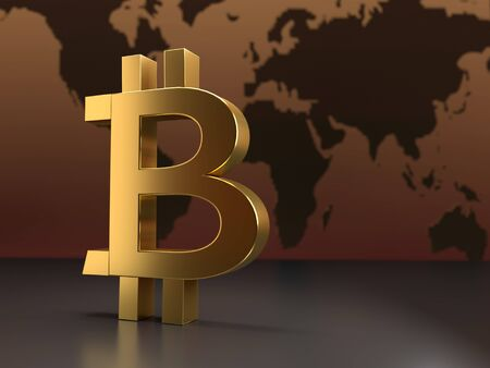 3D rendering of golden bitcoin symbol against world map Stock Photo