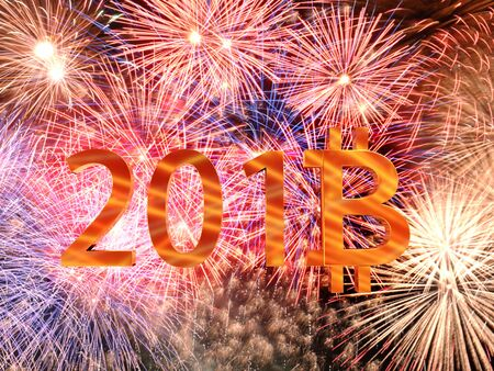 3D rendering of 2018 New Year date with eight digit replaced by bitcoin symbol against fireworks