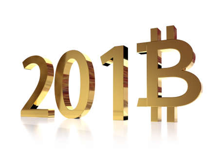 3D rendering of 2018 New Year date with eight digit replaced by bitcoin symbol on white background Stock Photo