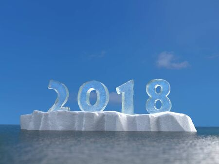 3D rendering of new year date 2018 created formed from ice placed on ice floe floating on sea surface