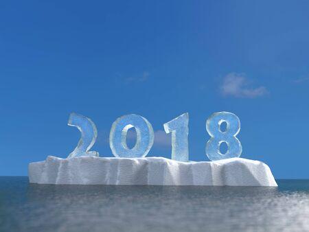 3D-weergave van nieuwjaarsdatum 2018 gemaakt gevormd uit ijs geplaatst op ijsschots drijvend op zee-oppervlak