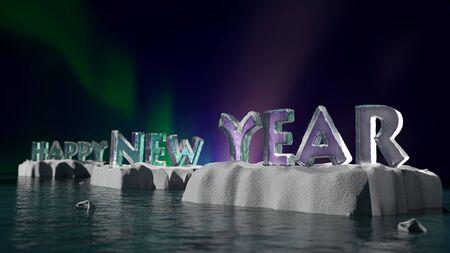 Het 3D teruggeven van Ijzige Gelukkige Nieuwjaarwoorden die op ijsschotsen worden geplaatst die op overzeesoppervlakte tegen Aurora Borealis-hemel drijven