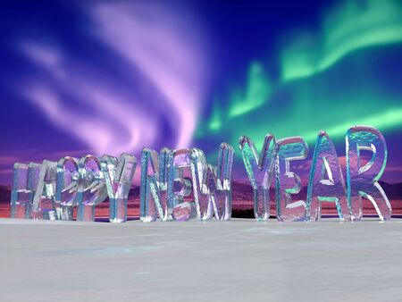 3D rendering of Icy Happy New Year words placed on ice surface against Aurora Borealis sky