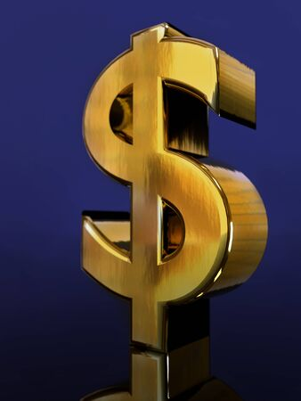 3D rendering of golden USD currency symbol on dark blue background Stock Photo