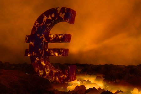 3D rendering of Euro currency symbol burning on lava surface over orange sky