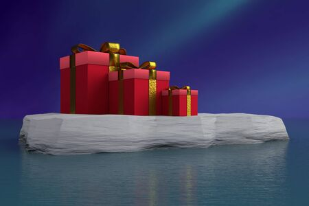 3D rendering of three red xmas present boxes with golden ribbons placed on ice floe floating on sea surface against dark blue sky