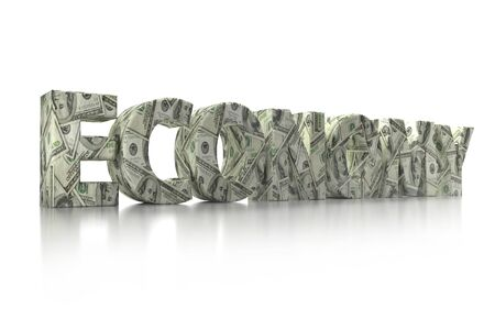 3D rendering of ECONOMY word wrapped around with 100 USD banknotes over white background