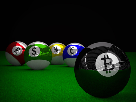 3D rendering of Pool balls with Bitcoin, American Dollar, Euro, Yen and British Pound symbols, placed on pool table