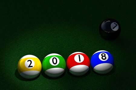 3D rendering of four striped pool balls with 2018 New Year date imprinted, and black ball with number seven representing the old passing year, placed on pool table