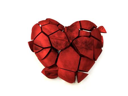 白い背景に赤い骨折した心臓の3Dレンダリング 写真素材