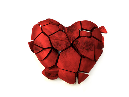 3D rendering of red fractured heart on white background Stock Photo