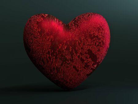 3D rendering of red metallic heart on dark grey background