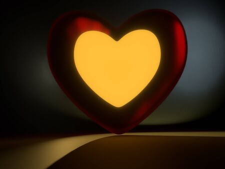 3D rendering of red heart with yellow lit center