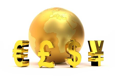3d rendering of golden global currency symbols around golden world globe